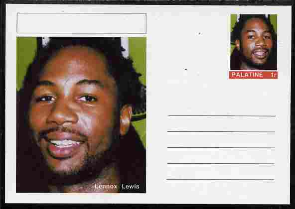 Palatine (Fantasy) Personalities - Lennox Lewis (boxing) postal stationery card unused and fine