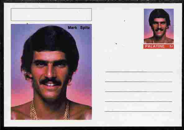 Palatine (Fantasy) Personalities - Mark Spitz (swimming) postal stationery card unused and fine