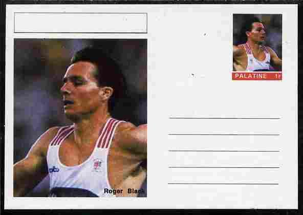 Palatine (Fantasy) Personalities - Roger Black (athletics) postal stationery card unused and fine