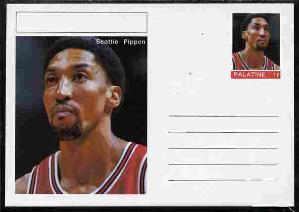 Palatine (Fantasy) Personalities - Scottie Pippen (basketball) postal stationery card unused and fine