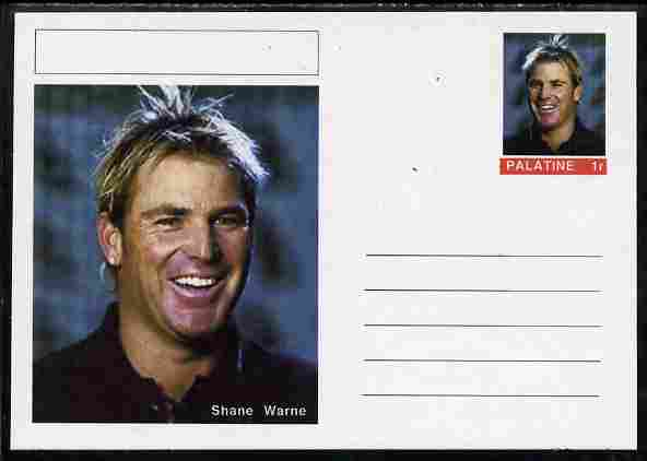 Palatine (Fantasy) Personalities - Shane Warne (cricket) postal stationery card unused and fine