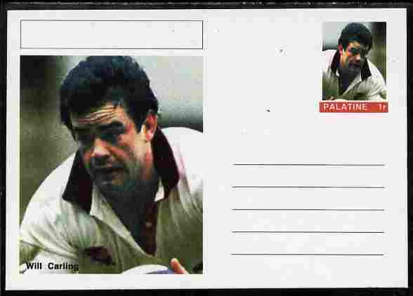 Palatine (Fantasy) Personalities - Will Carling (rugby) postal stationery card unused and fine