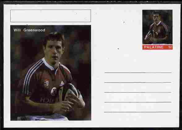 Palatine (Fantasy) Personalities - Will Greenwood (rugby) postal stationery card unused and fine