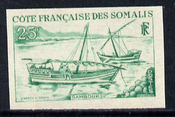 French Somali Coast 1964 Local Dhows 25f (Sambuk) Imperf colour trial proof (several different colours  available but price is for ONE) as SG 477 unmounted mint