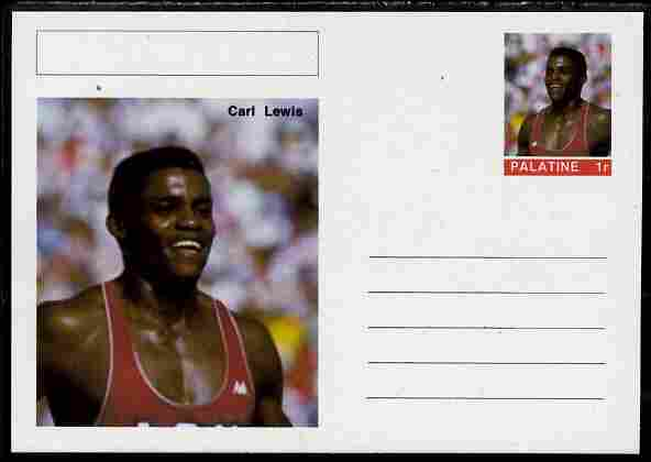 Palatine (Fantasy) Personalities - Carl Lewis (athletics) postal stationery card unused and fine