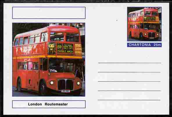 Chartonia (Fantasy) Buses & Trams - London Routemaster Bus postal stationery card unused and fine