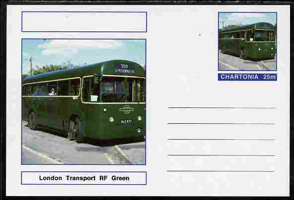 Chartonia (Fantasy) Buses & Trams - London Transport RF Bus (green) postal stationery card unused and fine, stamps on transport, stamps on buses