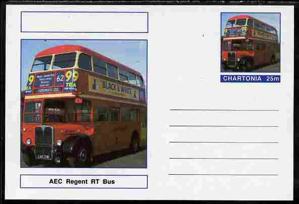 Chartonia (Fantasy) Buses & Trams - AEC Regent RT Bus postal stationery card unused and fine