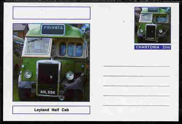 Chartonia (Fantasy) Buses & Trams - Leyland Half Cab Single Decker Bus postal stationery card unused and fine