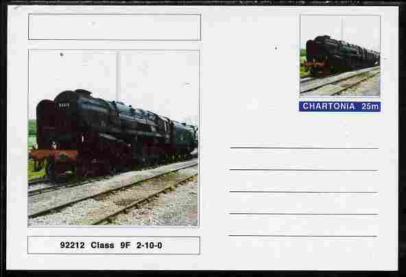 Chartonia (Fantasy) Railways - Class 9F 2-10-0 No 92212 postal stationery card unused and fine