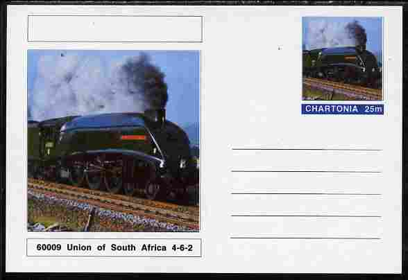 Chartonia (Fantasy) Railways - Class A4 Pacific 4-6-2 No 60009 Union of South Africa postal stationery card unused and fine