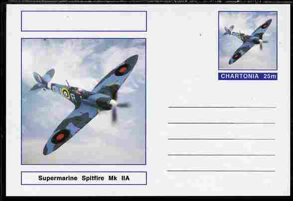 Chartonia (Fantasy) Aircraft - Supermarine Spitfire Mk IIA postal stationery card unused and fine
