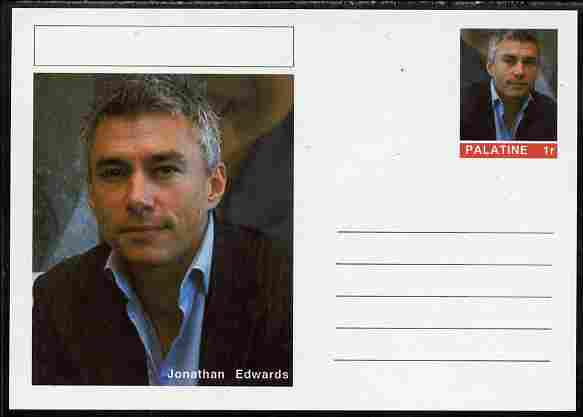 Palatine (Fantasy) Personalities - Jonathan Edwards (athletics) postal stationery card unused and fine