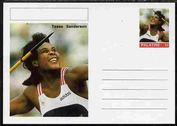 Palatine (Fantasy) Personalities - Tessa Sanderson (athletics) postal stationery card unused and fine