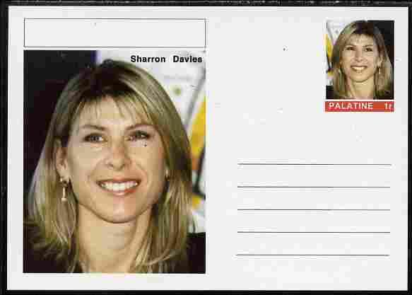 Palatine (Fantasy) Personalities - Sharon Davies (swimming) postal stationery card unused and fine