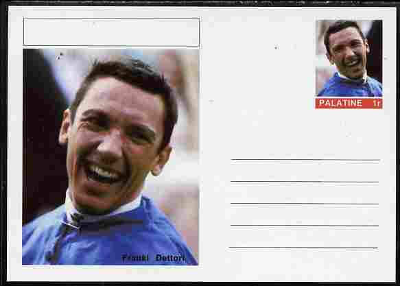 Palatine (Fantasy) Personalities - Franki Dettori (horses) postal stationery card unused and fine