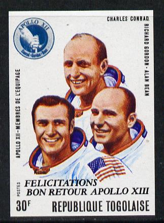 Togo 1970 Apollo Moon Flights 30f (Conrad, Gordon & Bean) imperf from limited printing, as SG 753 unmounted mint*