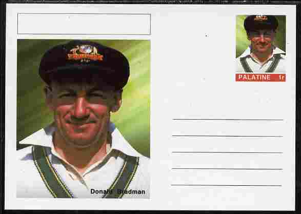 Palatine (Fantasy) Personalities - Donald Bradman (cricket) postal stationery card unused and fine