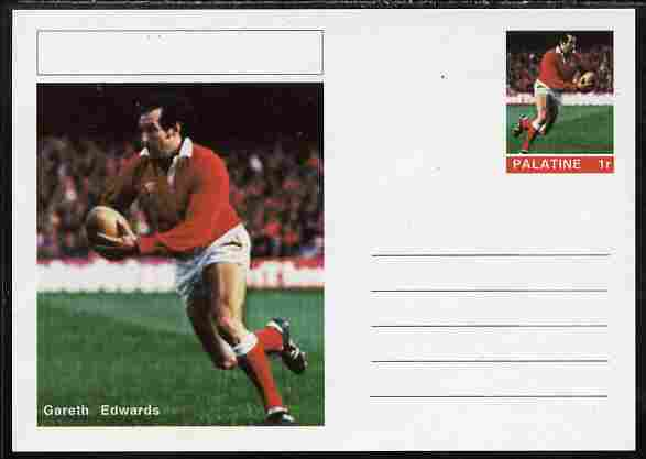 Palatine (Fantasy) Personalities - Gareth Edwards (rugby) postal stationery card unused and fine