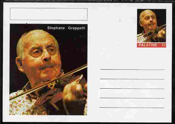 Palatine (Fantasy) Personalities - Stephane Grappelli postal stationery card unused and fine