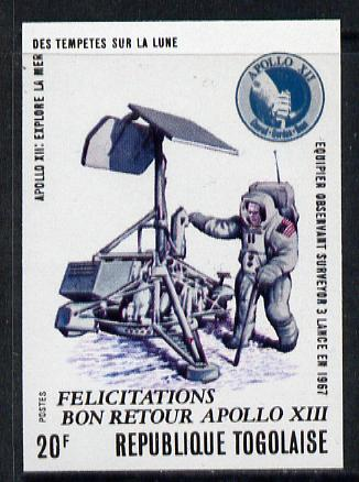 Togo 1970 Apollo Moon Flights 20f (Astronaut & Module) imperf from limited printing, as SG 752 unmounted mint*