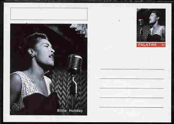 Palatine (Fantasy) Personalities - Billie Holiday postal stationery card unused and fine