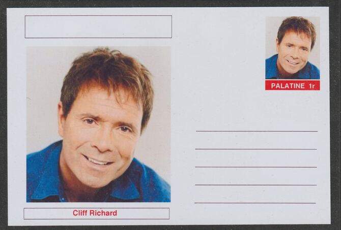 Palatine (Fantasy) Personalities - Cliff Richard postal stationery card unused and fine, stamps on personalities, stamps on music, stamps on rock, stamps on pops