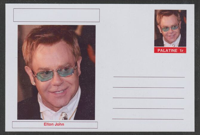 Palatine (Fantasy) Personalities - Elton John postal stationery card unused and fine