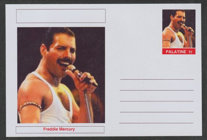 Palatine (Fantasy) Personalities - Freddie Mercury postal stationery card unused and fine, stamps on personalities, stamps on music, stamps on rock, stamps on pops