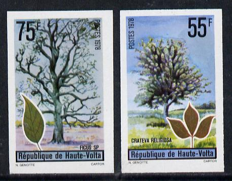 Upper Volta 1972 Trees set of 2 imperf from limited printing unmounted mint, as SG 481-82*