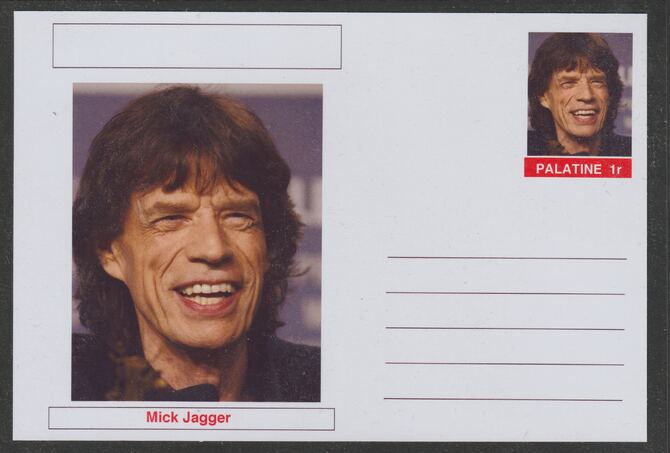Palatine (Fantasy) Personalities - Mick Jagger postal stationery card unused and fine