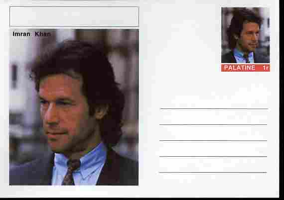 Palatine (Fantasy) Personalities - Imran Khan (cricket) postal stationery card unused and fine