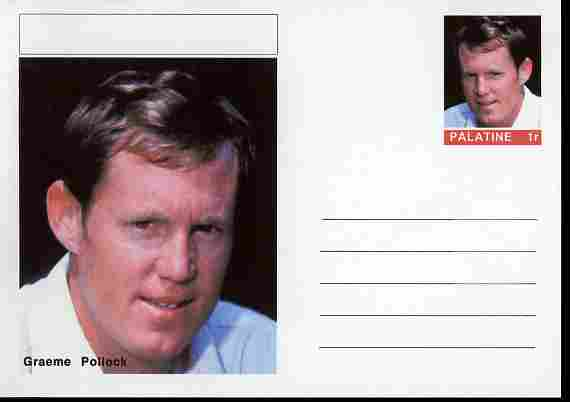 Palatine (Fantasy) Personalities - Graeme Pollock (cricket) postal stationery card unused and fine