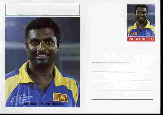 Palatine (Fantasy) Personalities - Muttiah Muralitharan (cricket) postal stationery card unused and fine