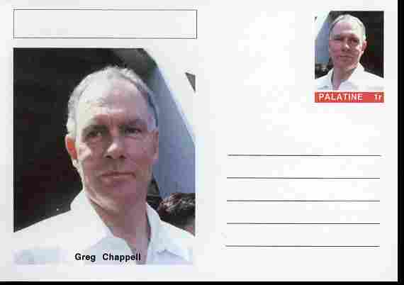 Palatine (Fantasy) Personalities - Greg Chappell (cricket) postal stationery card unused and fine