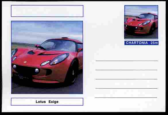 Chartonia (Fantasy) Cars - 2006 Lotus Exige postal stationery card unused and fine