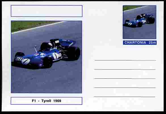 Chartonia (Fantasy) Formula 1 - Tyrell 1969 postal stationery card unused and fine