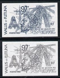 Wallis & Futuna 1983 Gustave Eiffel 97f two different Imperf colour trial proofs as SG 418