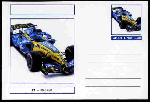 Chartonia (Fantasy) Formula 1 - Renault postal stationery card unused and fine