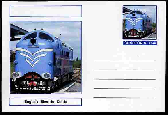 Chartonia (Fantasy) Railways - English Electric Deltic postal stationery card unused and fine