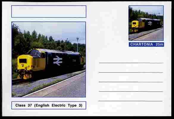 Chartonia (Fantasy) Railways - Diesel Class 37 postal stationery card unused and fine