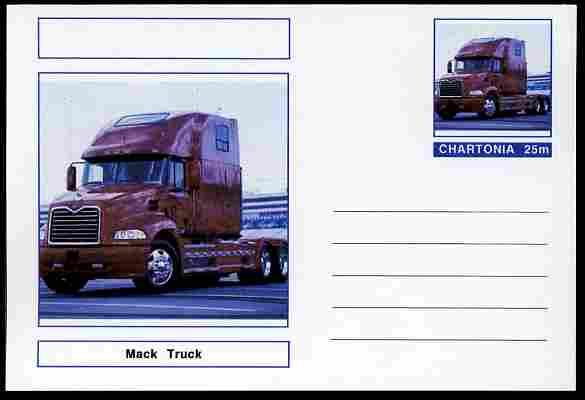 Chartonia (Fantasy) Trucks - Mack postal stationery card unused and fine