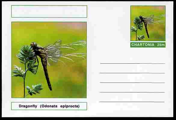 Chartonia (Fantasy) Insects - Dragonfly (Odonata epiprocta) postal stationery card unused and fine