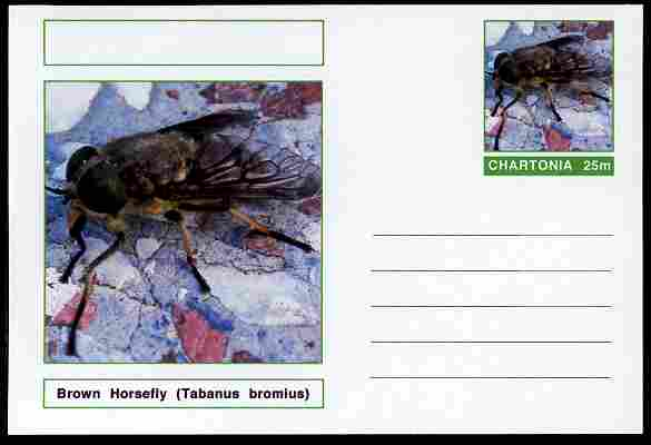 Chartonia (Fantasy) Insects - Brown Horsefly (Tabanus bromius) postal stationery card unused and fine