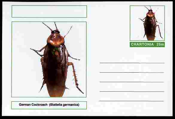 Chartonia (Fantasy) Insects - German Cockroach (Blattella germanica) postal stationery card unused and fine