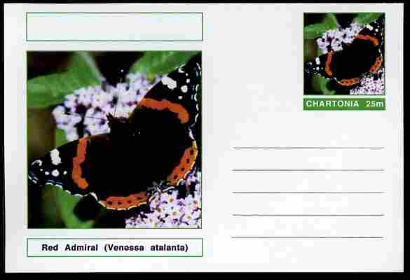 Chartonia (Fantasy) Butterflies - Red Admiral (Venessa atalanta) postal stationery card unused and fine