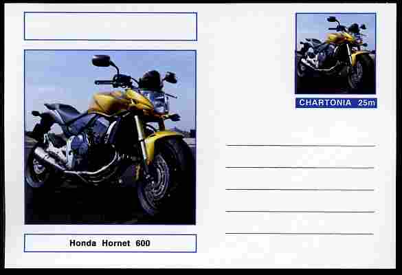 Chartonia (Fantasy) Motorcycles - 2002 Honda Hornet 600 postal stationery card unused and fine