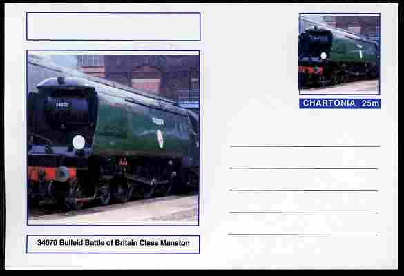 Chartonia (Fantasy) Railways - Bulleid Battle of Britain Class Manston postal stationery card unused and fine