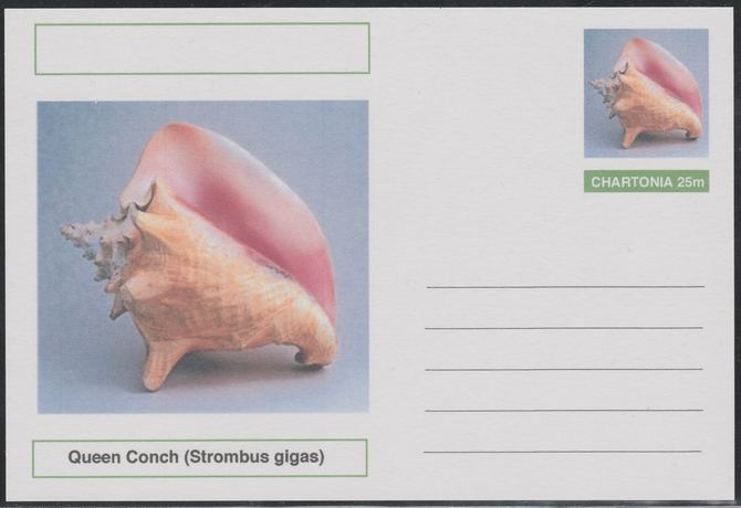 Chartonia (Fantasy) Shells - Queen Conch (Strombus gigas) postal stationery card unused and fine