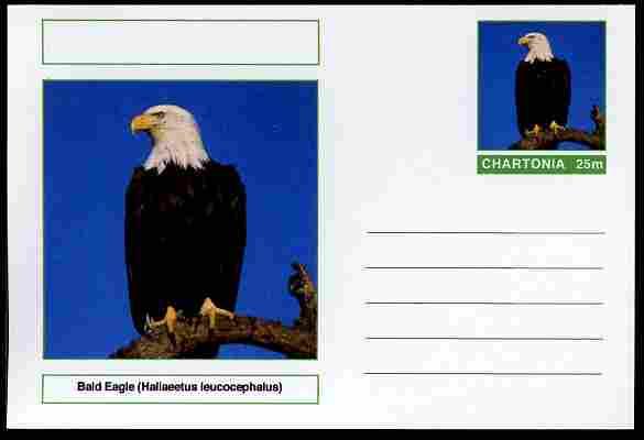 Chartonia (Fantasy) Birds - Bald Eagle (Haliaeetus leucocephalus) postal stationery card unused and fine